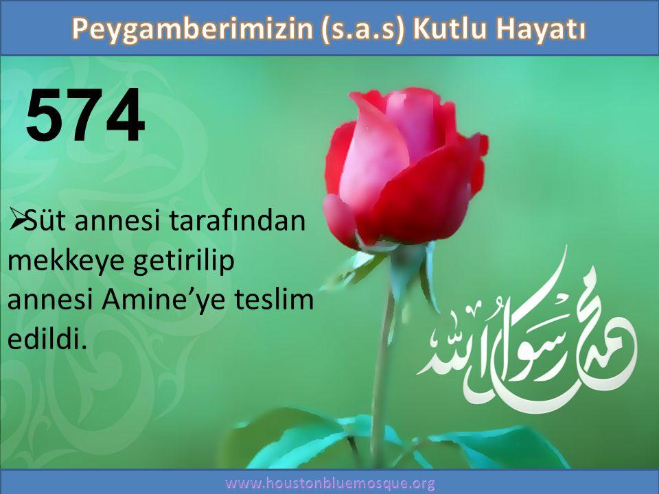 574  Süt annesi tarafından mekkeye getirilip annesi Amine'ye teslim edildi.
