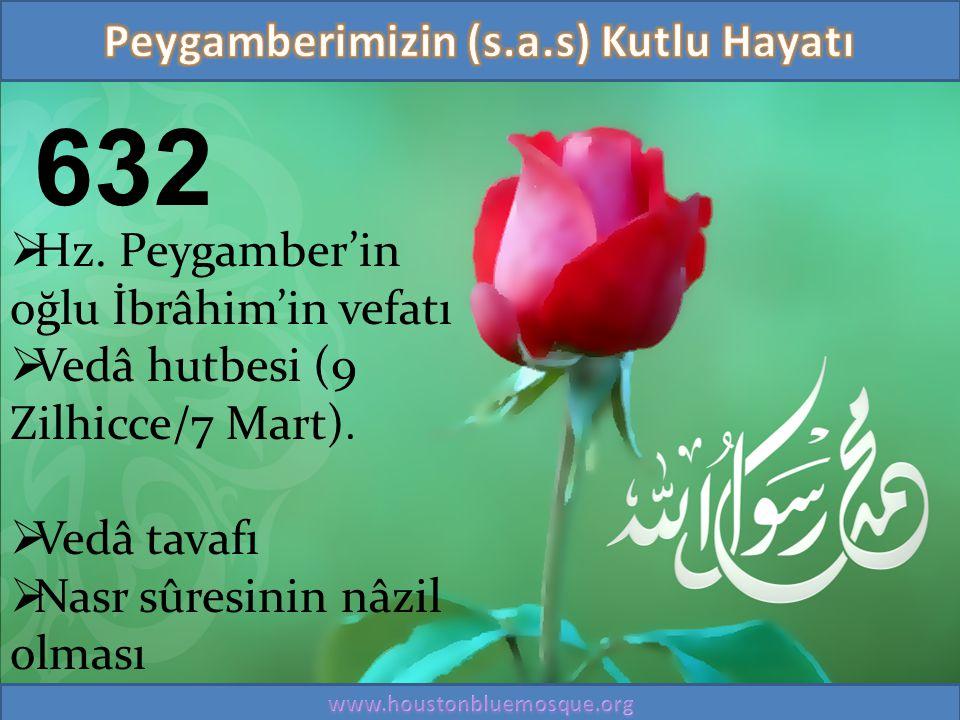 632  Hz. Peygamber'in oğlu İbrâhim'in vefatı  Vedâ hutbesi (9 Zilhicce/7 Mart).  Vedâ tavafı  Nasr sûresinin nâzil olması