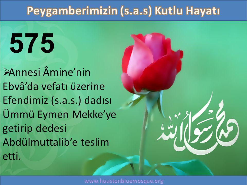 575  Annesi Âmine'nin Ebvâ'da vefatı üzerine Efendimiz (s.a.s.) dadısı Ümmü Eymen Mekke'ye getirip dedesi Abdülmuttalib'e teslim etti.