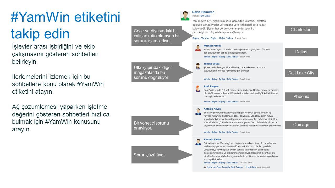 #YamWin etiketini takip edin İşlevler arası işbirliğini ve ekip çalışmasını gösteren sohbetleri belirleyin. İlerlemelerini izlemek için bu sohbetlere