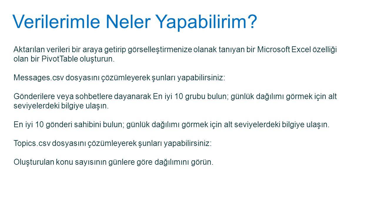 Verilerimle Neler Yapabilirim? Aktarılan verileri bir araya getirip görselleştirmenize olanak tanıyan bir Microsoft Excel özelliği olan bir PivotTable