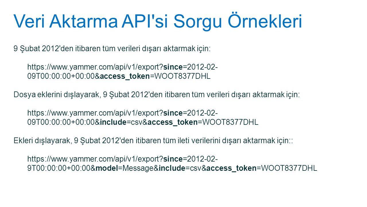 Veri Aktarma API'si Sorgu Örnekleri 9 Şubat 2012'den itibaren tüm verileri dışarı aktarmak için: https://www.yammer.com/api/v1/export?since=2012-02- 0