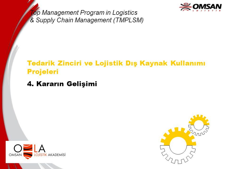 Tedarik Zinciri ve Lojistik Dış Kaynak Kullanımı Projeleri 4. Kararın Gelişimi Top Management Program in Logistics & Supply Chain Management (TMPLSM)