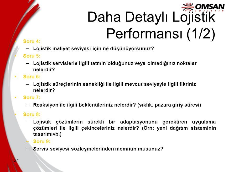 24 Daha Detaylı Lojistik Performansı (1/2) Soru 4: –Lojistik maliyet seviyesi için ne düşünüyorsunuz? Soru 5: –Lojistik servislerle ilgili tatmin oldu