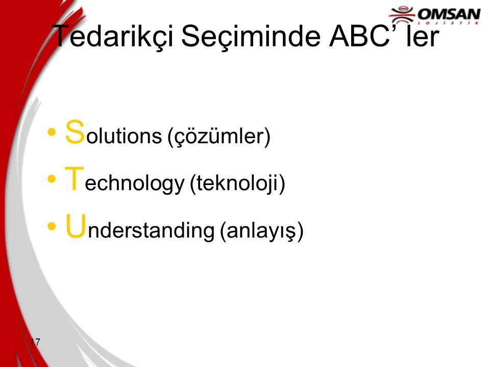 16 Tedarikçi Seçiminde ABC' ler P rocess capability (süreç yetkinliği) Q uality certification (kalite sertifikasyonu) R eferences (referanslar)