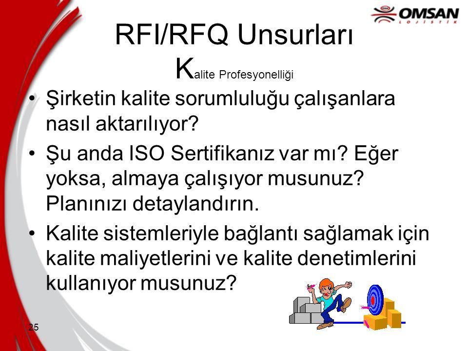 24 RFI/RFQ Unsurları F inans Üretkenlik ve yatırım geri dönüşü için eski trendleriniz nelerdir? Daha büyük bir şirketin parçası mısınız? Eğer öyleyse