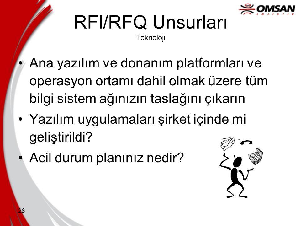 27 RFI/RFQ Unsurları Muhasebe Yönetimi Muhasebe için bağımsız temas noktası kim olacak? Uygulama için çapraz fonksiyonel takımlar toplanacak mı? Muhas