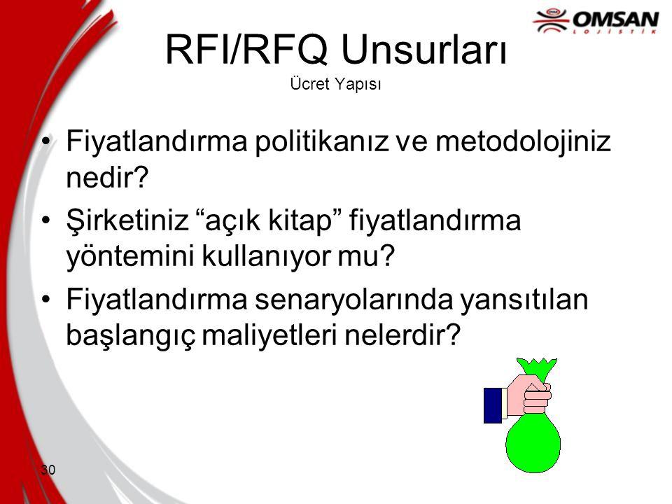 """29 RFI/RFQ Unsurları Lojistik Ağ Lojistik ağınızın boyut ve kapsamlarına ait detayları belirleyin Müşterilerinize """"katma değerli hizmetler"""" sağlama be"""
