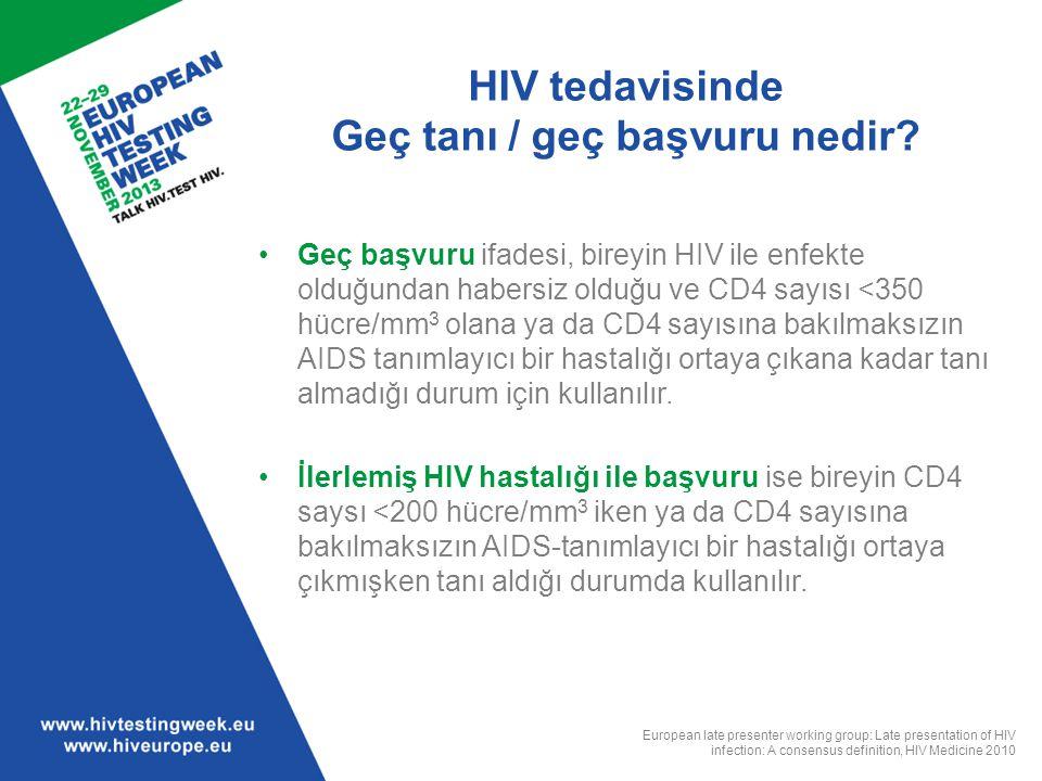HIV tedavisinde Geç tanı / geç başvuru nedir? Geç başvuru ifadesi, bireyin HIV ile enfekte olduğundan habersiz olduğu ve CD4 sayısı <350 hücre/mm 3 ol