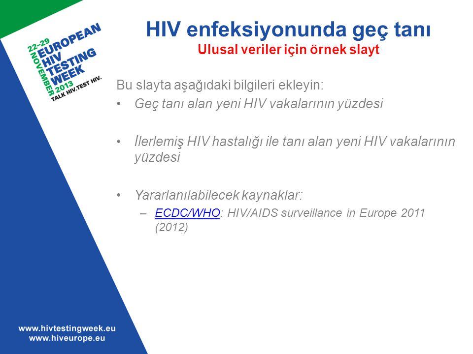 HIV enfeksiyonunda geç tanı Ulusal veriler için örnek slayt Bu slayta aşağıdaki bilgileri ekleyin: Geç tanı alan yeni HIV vakalarının yüzdesi İlerlemi