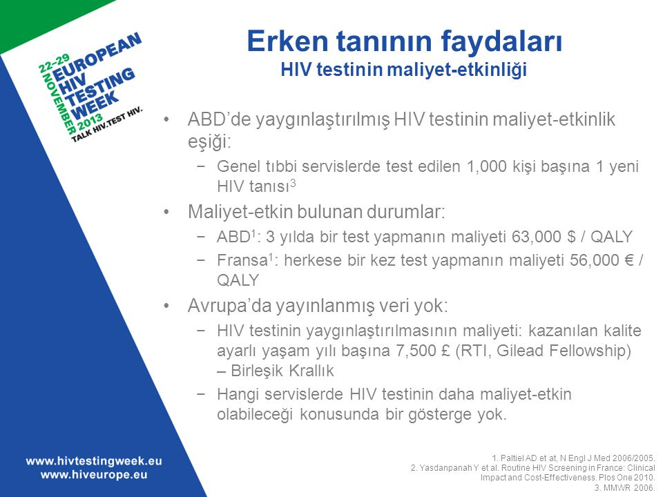 1. Paltiel AD et at, N Engl J Med 2006/2005. 2. Yasdanpanah Y et al. Routine HIV Screening in France: Clinical Impact and Cost-Effectiveness. Plos One