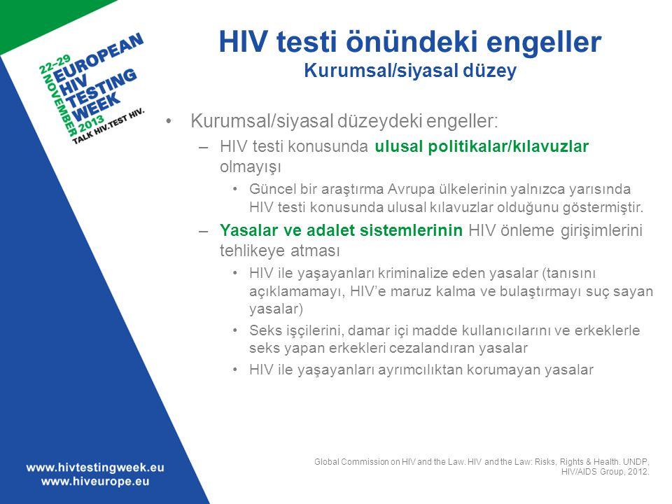 HIV testi önündeki engeller Kurumsal/siyasal düzey Kurumsal/siyasal düzeydeki engeller: –HIV testi konusunda ulusal politikalar/kılavuzlar olmayışı Gü