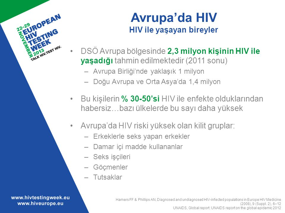 HIV testi önündeki engeller Sağlık çalışanları düzeyi Sağlık çalışanı düzeyinde varolan engeller: –Zaman yetersizliği –Onam alma süreçlerinin zahmetli olması –Bilgi/eğitim eksikliği –Test öncesi danışmanlık gereklilikleri –Birbiriyle çatışan öncelikler –Geri ödemede yetersizlik –Hastanın risk altında görülmemesi Sağlık kurumlarında karşılaşılan, fakat kaçırılan HIV testi yaptırma fırsatları Mounier-Jack Set al.