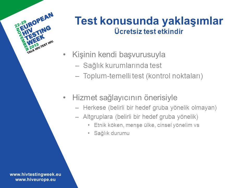 Test konusunda yaklaşımlar Ücretsiz test etkindir Kişinin kendi başvurusuyla –Sağlık kurumlarında test –Toplum-temelli test (kontrol noktaları) Hizmet