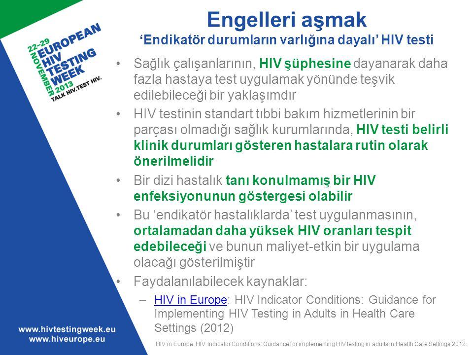 Engelleri aşmak 'Endikatör durumların varlığına dayalı' HIV testi Sağlık çalışanlarının, HIV şüphesine dayanarak daha fazla hastaya test uygulamak yön