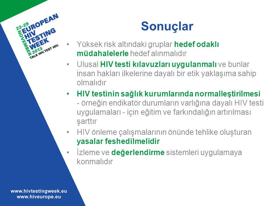 Sonuçlar Yüksek risk altındaki gruplar hedef odaklı müdahalelerle hedef alınmalıdır Ulusal HIV testi kılavuzları uygulanmalı ve bunlar insan hakları i