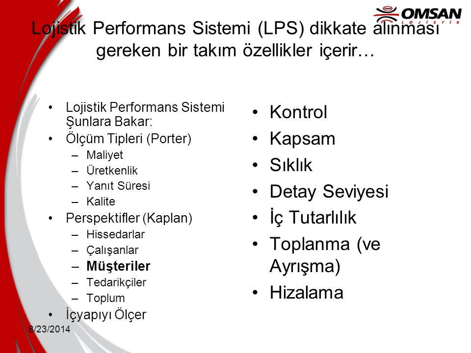 8/23/2014 Lojistik Performans Sistemi (LPS) dikkate alınması gereken bir takım özellikler içerir… Lojistik Performans Sistemi Şunlara Bakar: Ölçüm Tip
