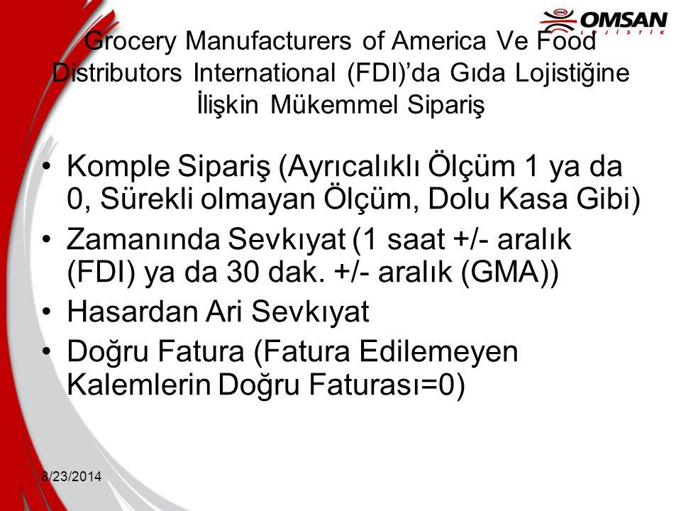8/23/2014 Grocery Manufacturers of America Ve Food Distributors International (FDI)'da Gıda Lojistiğine İlişkin Mükemmel Sipariş Komple Sipariş (Ayrıc