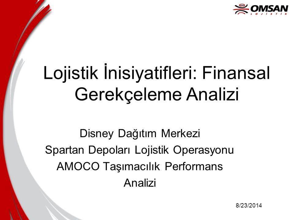 8/23/2014 Lojistik İnisiyatifleri: Finansal Gerekçeleme Analizi Disney Dağıtım Merkezi Spartan Depoları Lojistik Operasyonu AMOCO Taşımacılık Performa