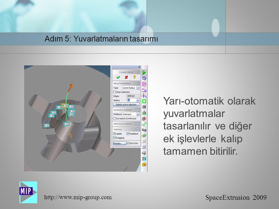 SpaceExtrusion 2009 http://www.mip-group.com Yarı-otomatik olarak yuvarlatmalar tasarlanılır ve diğer ek işlevlerle kalıp tamamen bitirilir.