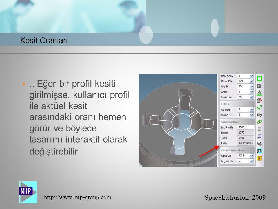SpaceExtrusion 2009 http://www.mip-group.com Kesit Oranları..