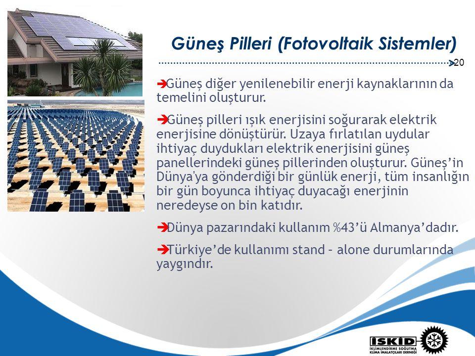 20 Güneş Pilleri (Fotovoltaik Sistemler)  Güneş diğer yenilenebilir enerji kaynaklarının da temelini oluşturur.  Güneş pilleri ışık enerjisini soğur