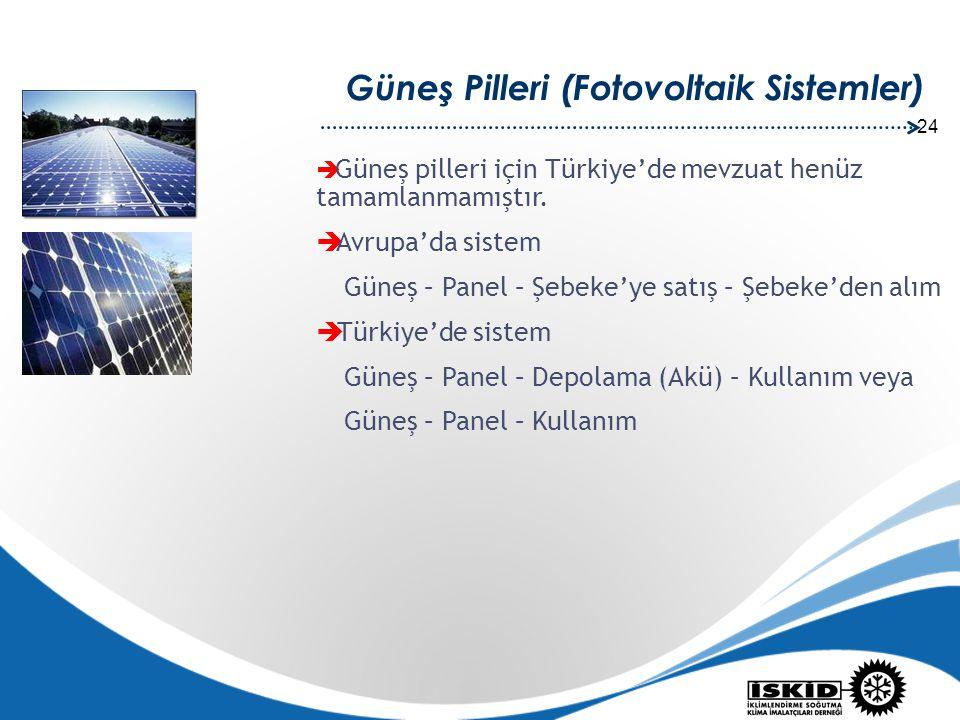 24 Güneş Pilleri (Fotovoltaik Sistemler)  Güneş pilleri için Türkiye'de mevzuat henüz tamamlanmamıştır.  Avrupa'da sistem Güneş – Panel – Şebeke'ye