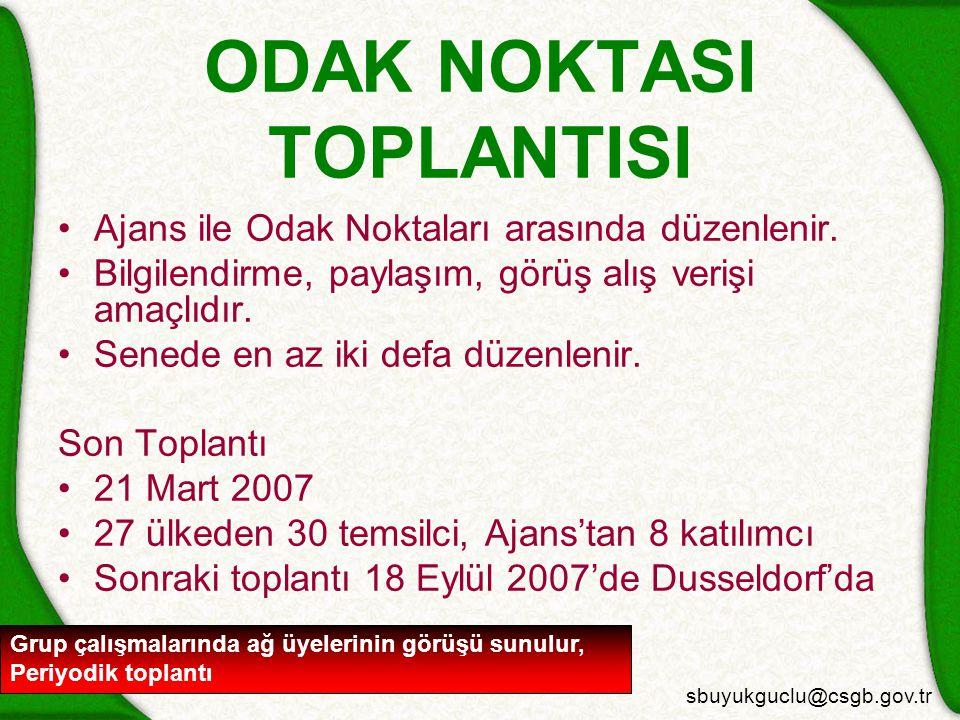 sbuyukguclu@csgb.gov.tr ODAK NOKTASI TOPLANTISI Ajans ile Odak Noktaları arasında düzenlenir.