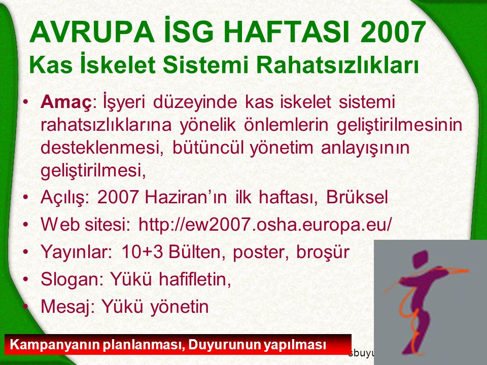 sbuyukguclu@csgb.gov.tr AVRUPA İSG HAFTASI 2007 Kas İskelet Sistemi Rahatsızlıkları Amaç: İşyeri düzeyinde kas iskelet sistemi rahatsızlıklarına yönelik önlemlerin geliştirilmesinin desteklenmesi, bütüncül yönetim anlayışının geliştirilmesi, Açılış: 2007 Haziran'ın ilk haftası, Brüksel Web sitesi: http://ew2007.osha.europa.eu/ Yayınlar: 10+3 Bülten, poster, broşür Slogan: Yükü hafifletin, Mesaj: Yükü yönetin Kampanyanın planlanması, Duyurunun yapılması