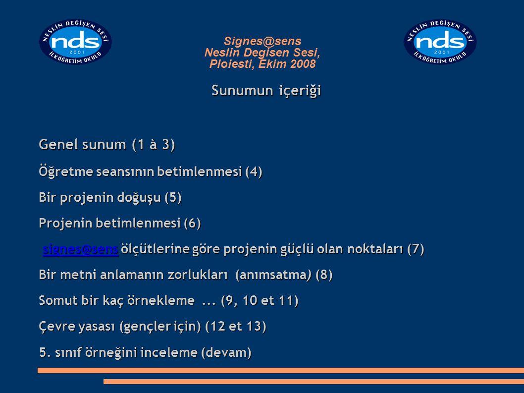 Signes@sens Neslin Degisen Sesi, Ploiesti, Ekim 2008 Öğretme seansının betimlenmesi Başlık : Denizimizi koruyalım Denizin korunması için çevre yasası Hedeflenen kitle : 6 - 11 yaş arası öğrenciler, üst düzey Hedeflenen diller : Türkçe (anadil) ; Fransızca (2.dil)  Anadil ve 2.dil hakimiyeti : zayıf - orta arası İşlenen mesaj türleri : bilgilendirici ve emredici metinler ; görüntüye dayalı belgeler Okumada engeller (öncelikli olarak çalışılmış) : genel anlam projesinin yokluğu ; anlam göstergelerini yakalayabilme sorunu ; önceki kazanımlara atıf sorunu ; bağlantı kurma sorunu Yazıyla olan ilişki : bir yasanın yazılması ve resimlendirilmesi