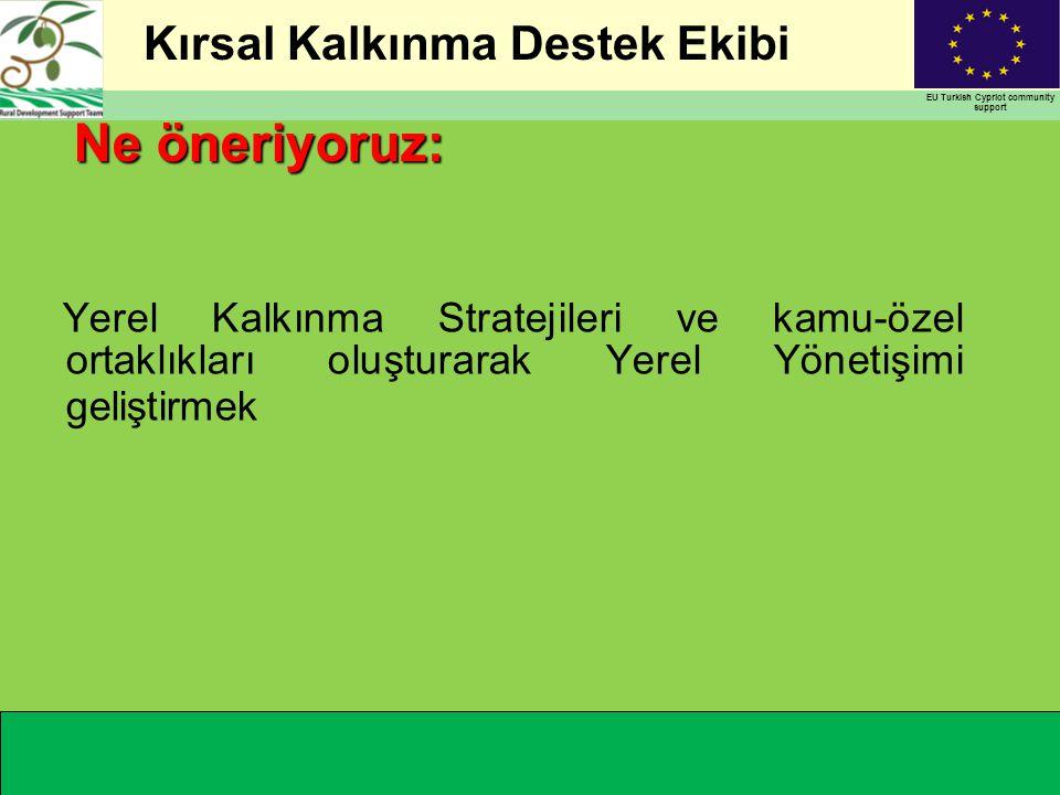 Kırsal Kalkınma Destek Ekibi EU Turkish Cypriot community support 6 BİR KIRSAL ALAN -Coğrafi ve sosyo-ekonomik açıdan homojen -Yeterli insan kaynaklarına sahip ORTAKLIK -Belediyeler -Muhtarlıklar -STK'lar -Özel sektör -Merkezi organlar YEREL KALKINMA STRATEJİSİ - Tabandan tavana yaklaşımı - Çok sektörlü ve entegre Sürdürülebilir kalkınmanın sacayağı Nasıl….