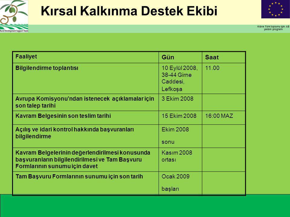 Kırsal Kalkınma Destek Ekibi Kıbrıs Türk toplumu için AB yardım programı Faaliyet GünSaat Bilgilendirme toplantısı10 Eylül 2008, 38-44 Girne Caddesi, Lefkoşa 11.00 Avrupa Komisyonu'ndan istenecek açıklamalar için son talep tarihi 3 Ekim 2008 Kavram Belgesinin son teslim tarihi15 Ekim 200816:00 MAZ Açılış ve idari kontrol hakkında başvuranları bilgilendirme Ekim 2008 sonu Kavram Belgelerinin değerlendirilmesi konusunda başvuranların bilgilendirilmesi ve Tam Başvuru Formlarının sunumu için davet Kasım 2008 ortası Tam Başvuru Formlarının sunumu için son tarihOcak 2009 başları