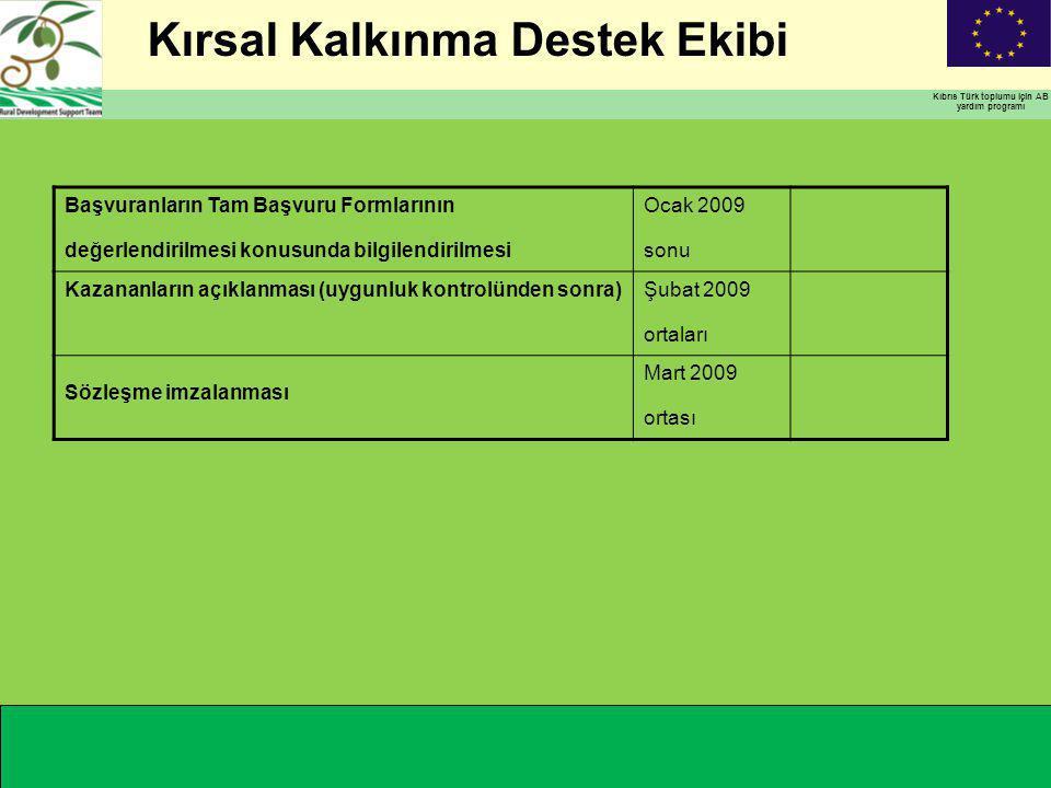 Kırsal Kalkınma Destek Ekibi Kıbrıs Türk toplumu için AB yardım programı Başvuranların Tam Başvuru Formlarının değerlendirilmesi konusunda bilgilendirilmesi Ocak 2009 sonu Kazananların açıklanması (uygunluk kontrolünden sonra)Şubat 2009 ortaları Sözleşme imzalanması Mart 2009 ortası