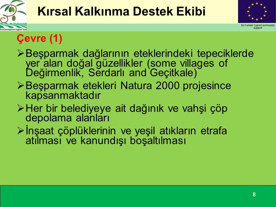 Kırsal Kalkınma Destek Ekibi EU Turkish Cypriot community support Çevre (1)  Beşparmak dağlarının eteklerindeki tepeciklerde yer alan doğal güzellikler (some villages of Değirmenlik, Serdarlı and Geçitkale)  Beşparmak etekleri Natura 2000 projesince kapsanmaktadır  Her bir belediyeye ait dağınık ve vahşi çöp depolama alanları  İnşaat çöplüklerinin ve yeşil atıkların etrafa atılması ve kanundışı boşaltılması 8