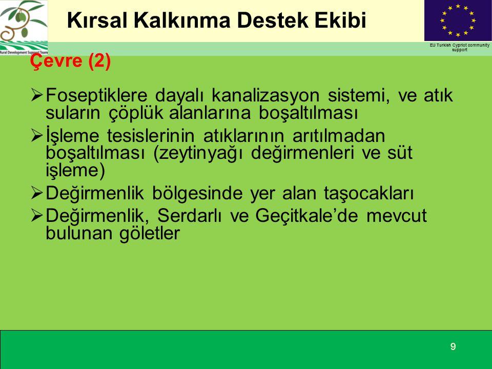 Kırsal Kalkınma Destek Ekibi EU Turkish Cypriot community support Çevre (2)  Foseptiklere dayalı kanalizasyon sistemi, ve atık suların çöplük alanlarına boşaltılması  İşleme tesislerinin atıklarının arıtılmadan boşaltılması (zeytinyağı değirmenleri ve süt işleme)  Değirmenlik bölgesinde yer alan taşocakları  Değirmenlik, Serdarlı ve Geçitkale'de mevcut bulunan göletler 9