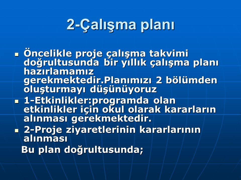 2-Çalışma planı Öncelikle proje çalışma takvimi doğrultusunda bir yıllık çalışma planı hazırlamamız gerekmektedir.Planımızı 2 bölümden oluşturmayı düş