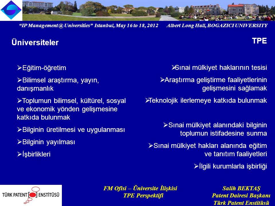 IP Management @ Universities Istanbul, May 16 to 18, 2012 Albert Long Hall, BOGAZICI UNIVERSITY Institutional logo FM Ofisi – Üniversite İlişkisi Salih BEKTAŞ TPE Perspektifi Patent Dairesi Başkanı Türk Patent Enstitüsü Üniversite – fikri mülkiyet 1.