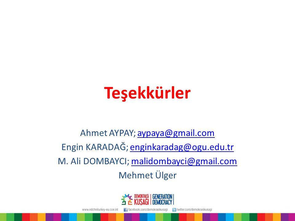 Teşekkürler Ahmet AYPAY; aypaya@gmail.comaypaya@gmail.com Engin KARADAĞ; enginkaradag@ogu.edu.trenginkaradag@ogu.edu.tr M.