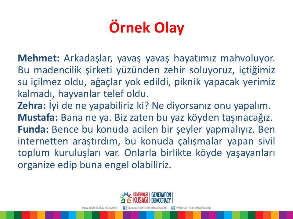Mehmet: Arkadaşlar, yavaş yavaş hayatımız mahvoluyor. Bu madencilik şirketi yüzünden zehir soluyoruz, içtiğimiz su içilmez oldu, ağaçlar yok edildi,