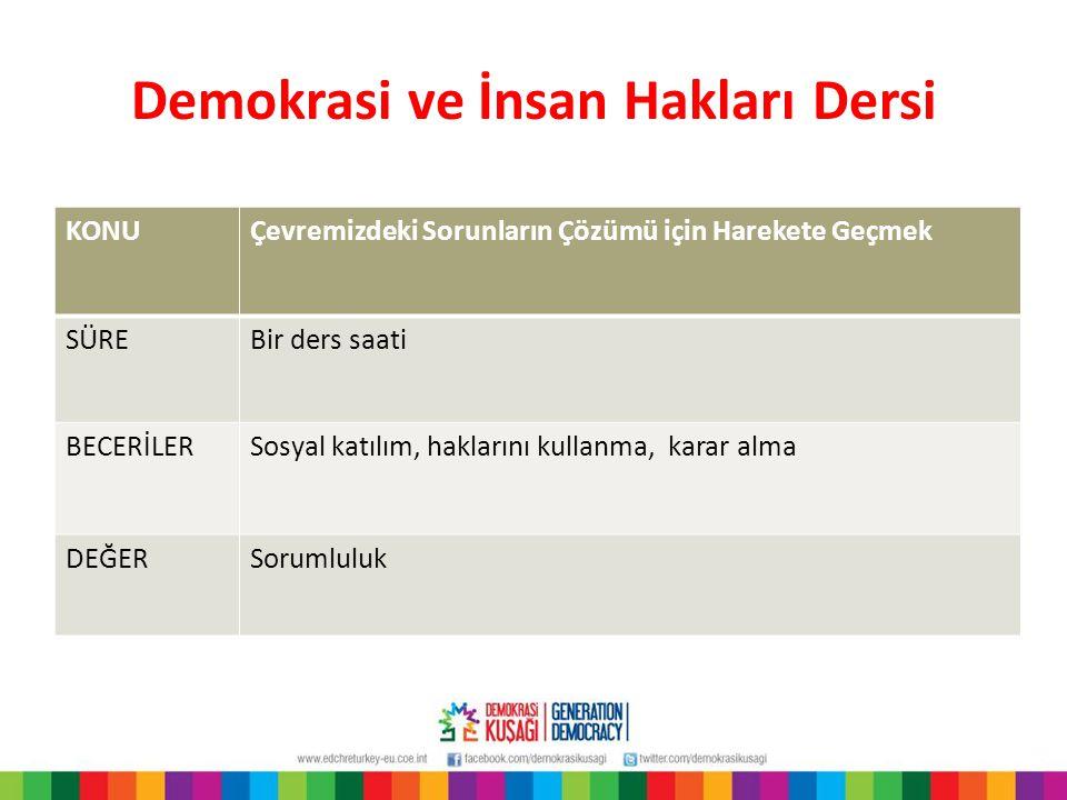 Demokrasi ve İnsan Hakları Dersi KONUÇevremizdeki Sorunların Çözümü için Harekete Geçmek SÜREBir ders saati BECERİLERSosyal katılım, haklarını kullanm