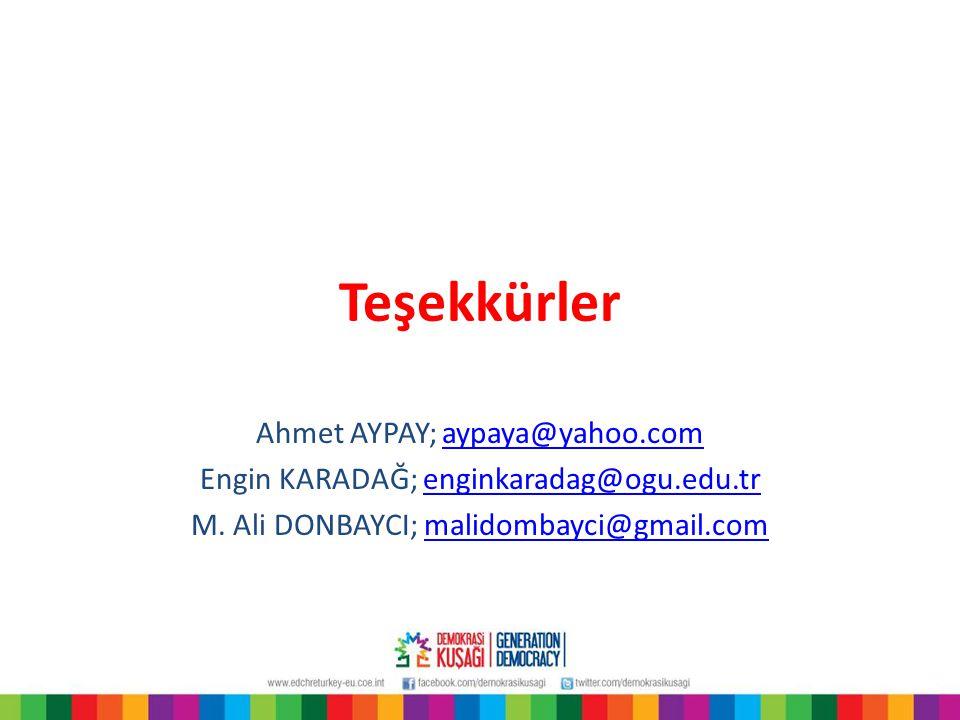Teşekkürler Ahmet AYPAY; aypaya@yahoo.comaypaya@yahoo.com Engin KARADAĞ; enginkaradag@ogu.edu.trenginkaradag@ogu.edu.tr M. Ali DONBAYCI; malidombayci@