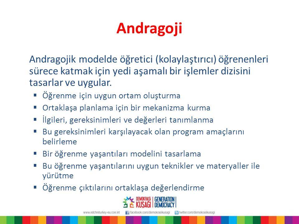 Andragoji Andragojik modelde öğretici (kolaylaştırıcı) öğrenenleri sürece katmak için yedi aşamalı bir işlemler dizisini tasarlar ve uygular.  Öğrenm