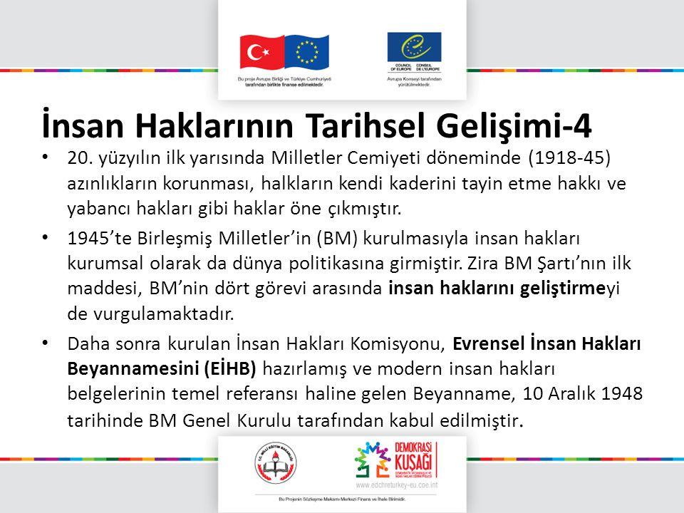 İnsan Haklarının Tarihsel Gelişimi-4 20. yüzyılın ilk yarısında Milletler Cemiyeti döneminde (1918-45) azınlıkların korunması, halkların kendi kaderin