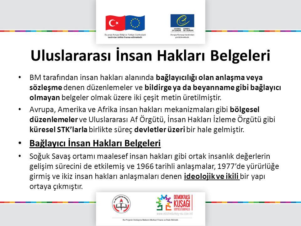 Uluslararası İnsan Hakları Belgeleri BM tarafından insan hakları alanında bağlayıcılığı olan anlaşma veya sözleşme denen düzenlemeler ve bildirge ya d