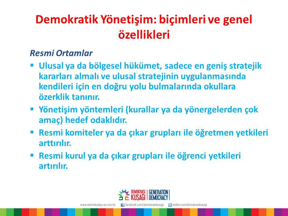 Demokratik Yönetişim: biçimleri ve genel özellikleri Resmi Ortamlar  Ulusal ya da bölgesel hükümet, sadece en geniş stratejik kararları almalı ve ulu