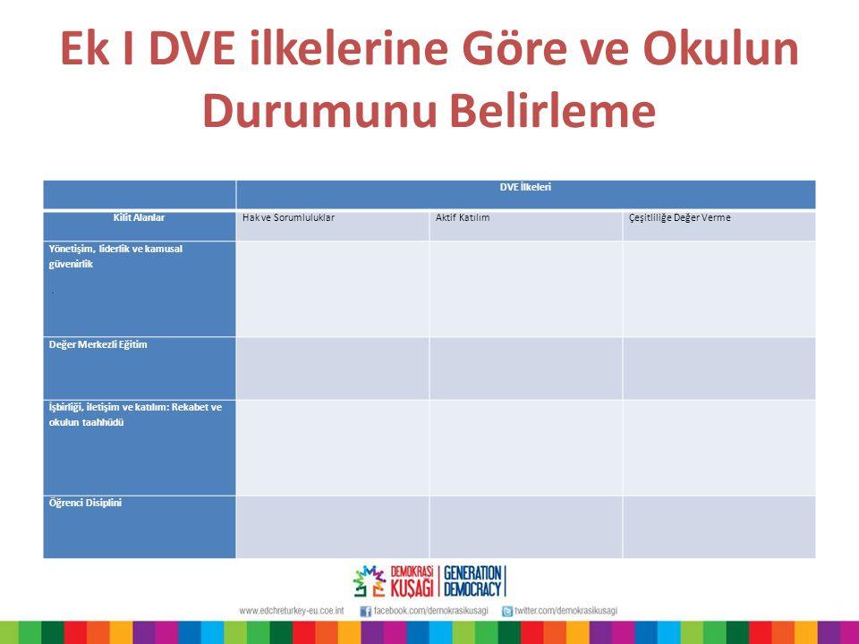 Ek I DVE ilkelerine Göre ve Okulun Durumunu Belirleme DVE İlkeleri Kilit AlanlarHak ve SorumluluklarAktif KatılımÇeşitliliğe Değer Verme Yönetişim, li