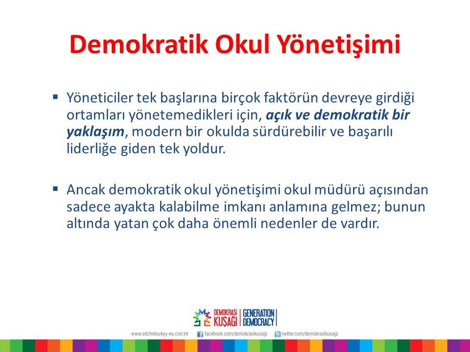 Yönetişim, liderlik, yönetim ve kamu önünde hesap verebilirliği Aşama 4  Okul, demokratik değerleri aktaran önemli bir etmendir.