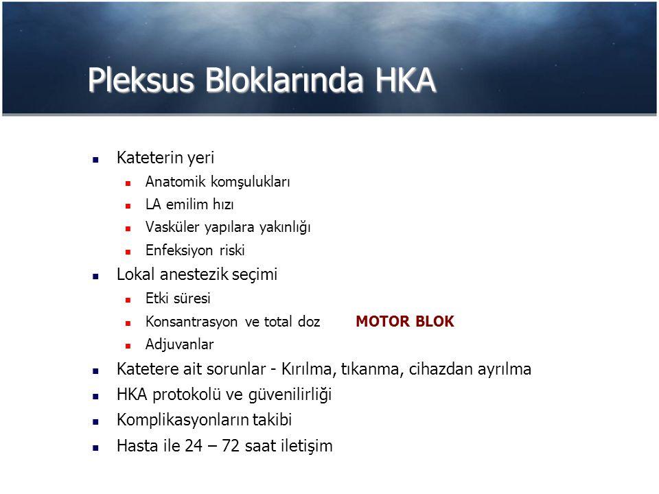 Pleksus Bloklarında HKA Kateterin yeri Anatomik komşulukları LA emilim hızı Vasküler yapılara yakınlığı Enfeksiyon riski Lokal anestezik seçimi Etki süresi Konsantrasyon ve total dozMOTOR BLOK Adjuvanlar Katetere ait sorunlar - Kırılma, tıkanma, cihazdan ayrılma HKA protokolü ve güvenilirliği Komplikasyonların takibi Hasta ile 24 – 72 saat iletişim