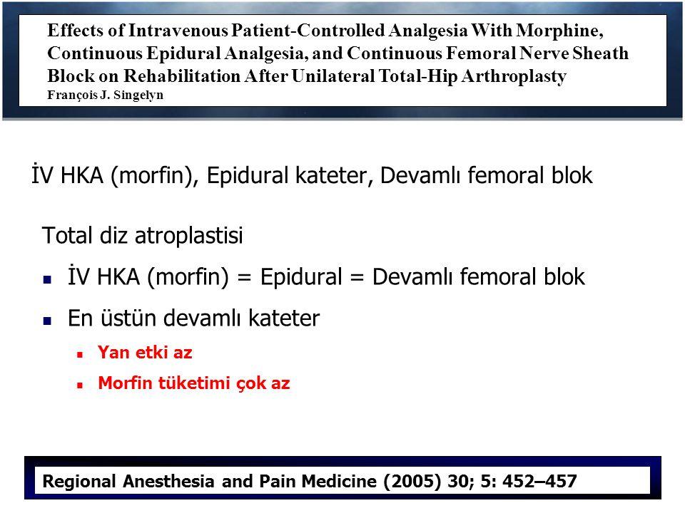 İV HKA (morfin), Epidural kateter, Devamlı femoral blok Total diz atroplastisi İV HKA (morfin) = Epidural = Devamlı femoral blok En üstün devamlı kateter Yan etki az Morfin tüketimi çok az Effects of Intravenous Patient-Controlled Analgesia With Morphine, Continuous Epidural Analgesia, and Continuous Femoral Nerve Sheath Block on Rehabilitation After Unilateral Total-Hip Arthroplasty François J.