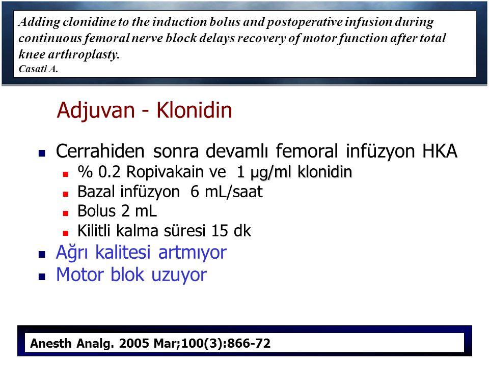 Adjuvan - Klonidin Cerrahiden sonra devamlı femoral infüzyon HKA 1 µg /ml klonidin % 0.2 Ropivakain ve 1 µg /ml klonidin Bazal infüzyon 6 mL/saat Bolus 2 mL Kilitli kalma süresi 15 dk Ağrı kalitesi artmıyor Motor blok uzuyor Adding clonidine to the induction bolus and postoperative infusion during continuous femoral nerve block delays recovery of motor function after total knee arthroplasty.